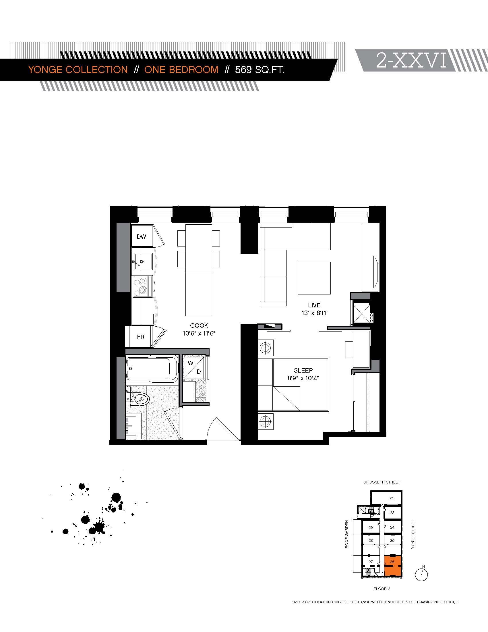 Five yonge collection 1bdr five condos at 5 st joseph for 12 yonge floor plans